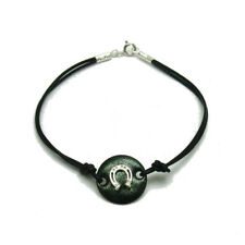 Sterling silver bracelet solid 925 Horseshoe with enamel and leather B000217