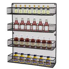Wall Mount Kitchen Shelf Pantry Holder Door Spice Rack Cabinet Organizer Storage