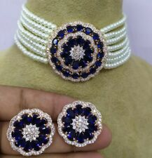 Bollywood Indian Gold Plated Kundan Choker Necklace CZ Bridal Pearl Jewelry Set