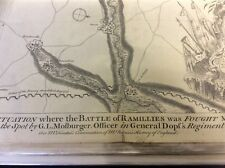 Antique map of Battle of Ramillies 1706. By I Basire published 1740's