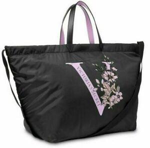 Victoria's Secret V Floral Tease Large Tote Bag Black & Lavender PACKAGED