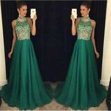 Sparkly Crystals Emerald Green Prom Dresses 2017 New Custom Evening Gowns