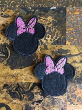 """2 Minnie Mouse Pink Green Iron On Sew On Patch 2.75""""L x 2.75"""" W Same Day Ship"""