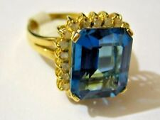 New 14k Solid Yellow Gold Y/G Blue Topaz with Diamond Ring, 10*12mm, SZ-7, NWT