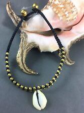 1 Anklet Cowrie Shell Macrame Black Gold Ringing Bells On Ends 24 cm To 27 cm