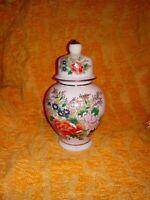 Vintage Japanese Porcelain Floral Urn With Gold Tip Lid