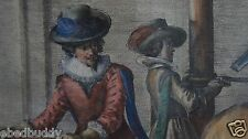 Louis XIV 18th century French engraving of horse training hand colored