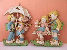 Vintage 70's Homco Girl & Boy Umbrella & Bench Young Love Plastic Wall Hangings