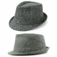 Trilby Hat Wool Tweed Fedora Cap Mens Unisex Country Brim Grey Check Hawkins