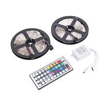 10M 600LEDS 3528 SMD RGB 2X 5M LED light strip + 44 Key IR Remote Controller SG