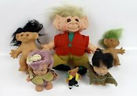 """6 Vintage 1960's Troll Dolls 4 1/2"""" to 11 1/2"""" Toy Figures With/Without Clothes"""