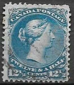 Canada 1868 12,5c blue Large Queen Scott 28 very nice used stamp see scans