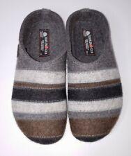 Haflinger Woolmark Pure New Wool Mule Clogs Gray Blue Brown Stripe Womens 8 / 39