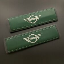Mini Cooper Green Seat belt covers pads with grey embroidery 2PCS