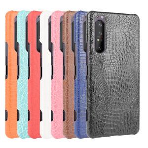 For Sony Xperia 5 II  1 II 10 II 1 III Crocodile Leather Skin PC Hard Back Case