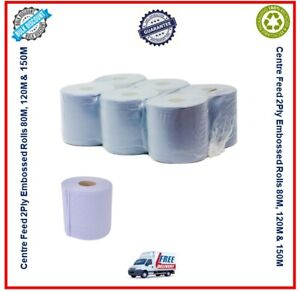 Blue Centre Feed Rolls 6/12/24/48 2 Ply Embossed Paper Wipe Pull Kitchen Towel