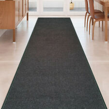 Custom Size SOLID BLACK Stair Hallway Runner Rug Non Slip Rubber Back
