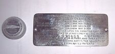 EDISON STANDARD PHONOGRAPH EARLY NICKEL ID PLATE SERIAL NUMBER S36455