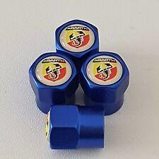 FIAT ABARTH Blue Metal Valve Dust Caps for all model 500 punto bravo stilo panda