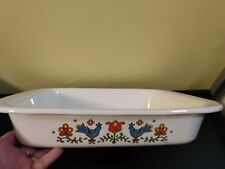 Vtg.1975 Country Festival friendship bluebird Lasagna Baking Casserole Dish.