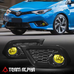 Fits 2016-2018 Scion Corolla iM [Yellow] Fog Light Lamp w/Switch+Harness+Bezel