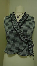 LILI Wrinkle Crossover Ruffle Neck stretchy check Top Blouse Black White UK 14