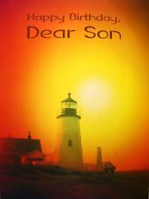 Birthday Braille Added Greeting Card For the Blind Son Lighthouse Sunset - BF046