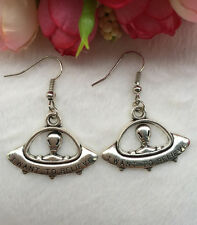 Antique Silver earring,Jewelry Creative  saucerman Earring ,Halloween gift