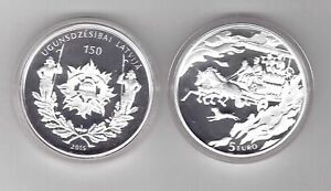LATVIA SILVER PROOF 5 EURO COIN 2015 YEAR 150th ANNI FIREFIGHTING