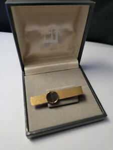 Vintage Dunhill gold plated  Tie Clip, Gold plated logo