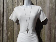 Plain Silver Cross Necklace Long Pendant Fashion Women's Ladies Chain Crucifix