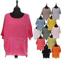 Plain Ladies Italian Cotton Top Button Pocket Lagenlook Light Weight Women Shirt