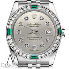 Ladies Rolex 26mm Datejust SS Silver Color Diamond Accent Dial Emerald Watch