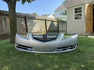 Acura TL Front Bumper Cover Fog Lights Grill 04-08 Base/type s Silver Complete