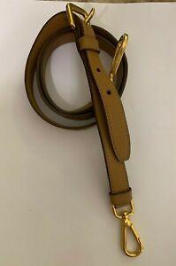 New Prada Removable Adjustable Leather Bag Shoulder Strap Brown / Gold Hardware