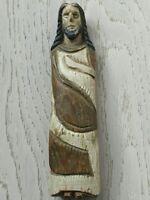 Ancien Christ linceul en bois polychrome reliquaire XVIII ème Art populaire