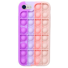 Pop Fidget Toy Soft Tpu Silicone Case Cover For iPhone 8/Se(2020) - Pink/Purple