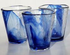 "Bormioli Rocco Italian Murano Hand Blown Cobalt Swirl Drink Glasses 4"" 8 Oz x3"