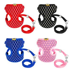 Pet Puppy Cat Harness with Leash Set Bling Soft Nylon Breathable Mesh Vest S M