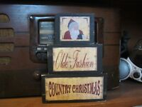 Old Fashion Country Christmas Primitive Rustic Wood Stacking Blocks Sign Set