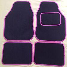 CAR FLOOR MATS FOR PEUGEOT 107 108 207 307 RCZ 2008 3008 - BLACK WITH PINK TRIM