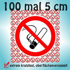 100 Aufkleber Rauchen verboten Nichtraucher 5 cm inkl zus Schutzlaminiert  ++UV