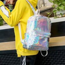 Women Men Silver Holographic Backpack Unisex Shiny Hologram School Rucksack bags