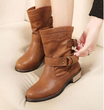 Women Ankle Boot Casual Mid Calf Shoes Motorcycle Knight Buckle Round Soft New