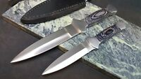 2 pack of two sizes of Double Edged Dagger Blade Boot Knife with sheaths
