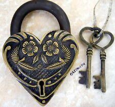Victorian heart lock brass body padlock