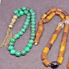 Antique amber Bakelite Islamic Prayer Natural Gemstone Malachite rosary  bakalit
