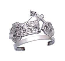 Sterling Silver Harley Motorcycle Design Men's Cuff Bracelet