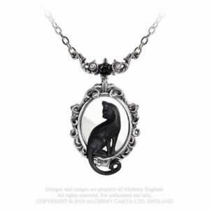 Alchemy Gothic Feline Felicity Black Cat Pewter Pendant Necklace - Gothic,Goth