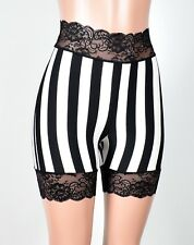 "High-Waist Vertical Stripe 2.5"" Stretch Lace Shorts XS to XL 2XL 3XL plus size"